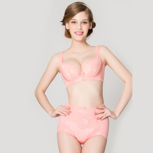 思薇爾-柔挺美學系列B-G罩蕾絲背心式塑身內衣(霓粉橘)