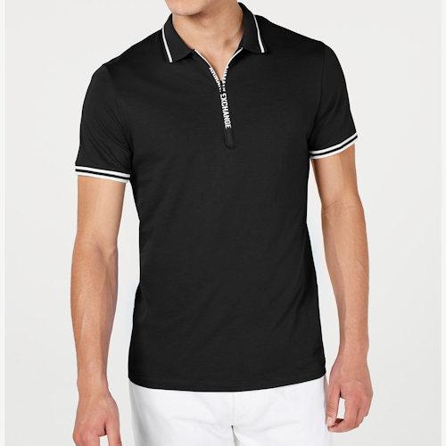 AX阿瑪尼拉鍊門襟短袖Polo(黑色)