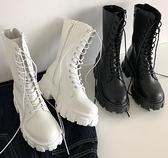 短靴 馬丁靴女夏季新款厚底增高繫帶短靴百搭復古粗跟中筒機車靴子 格蘭小舖 全館5折起
