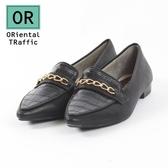 【ORiental TRaffic】摩登鍊條壓花皮革樂福鞋-摩登黑