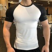 型動健身運動緊身短袖吸汗訓練速干圓領T恤高彈透氣健身服上衣夏