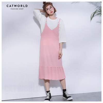 Catworld 正韓空運*拼接百摺魚尾厚雪紡背心裙【13002036】‧F