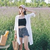 新款防曬衫外搭沙灘度假防曬衣女中長款雪紡開衫百搭外套夏季薄款