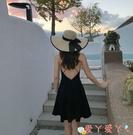露背洋裝海邊度假露背沙灘裙女夏150矮小個子法式吊帶連身裙春秋性感短裙 愛丫 免運