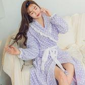 i PINK 寵愛公主 法蘭絨荷葉邊長版綁帶睡袍(紫底白點)