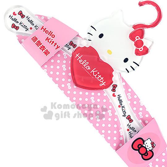 〔小禮堂〕Hello Kitty 造型衣架《紅.大臉.抱愛心》壓克力材質8021780-05581