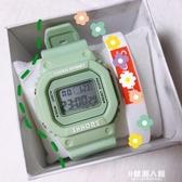 抹茶綠手錶女ins風學生簡約韓版小方錶網紅獨角獸防水方形電子錶 9號潮人館