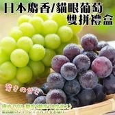 【果之蔬-全省免運】日本麝香貓眼葡萄雙拼禮盒x2串/盒(約1.2kg±10%(含盒重)