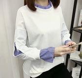 EASON SHOP(GU5336)假兩件套頭泡泡袖條紋拼接針織圓領長袖T恤內搭衫女上衣服素色棉T韓版寬鬆