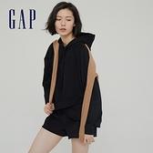 Gap女裝 碳素軟磨系列 法式圈織不規則下擺連帽休閒上衣 954058-黑色
