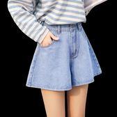牛仔短褲女夏新款chic高腰韓版寬鬆闊腿裙褲學生百搭a字熱褲 艾維朵