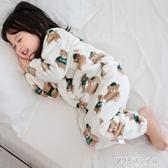 嬰兒睡袋秋冬季加厚法蘭絨連體睡衣兒童珊瑚絨爬服寶寶分腿防踢被
