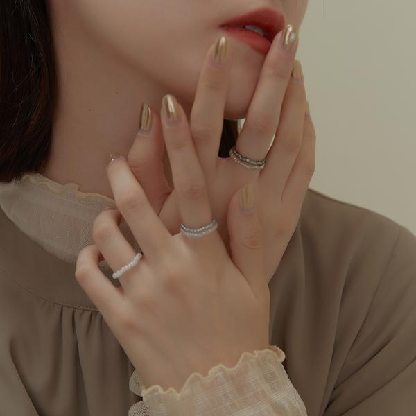 Queen Shop【07060167】清透串珠彈性戒指五件組*現+預*