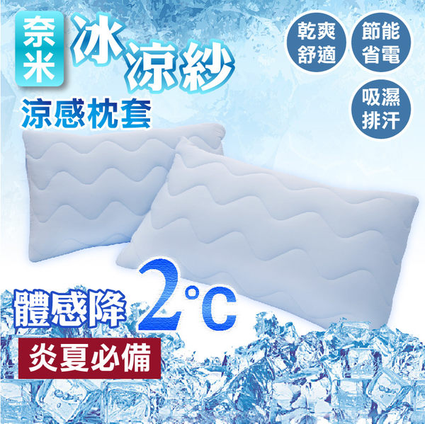 枕頭套 冰涼保潔枕套 奈米冰涼紗 - 枕套1入- 炎夏必備 涼感舒適 MIT台灣製造