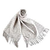 美國正品 COACH LOGO/格紋雙面用羊毛流蘇圍巾-米灰色【現貨】