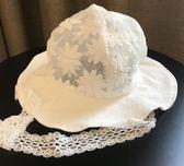 韓國進口嬰兒遮陽帽夏季薄款女寶寶純棉蕾絲帽公主太陽帽漁夫帽