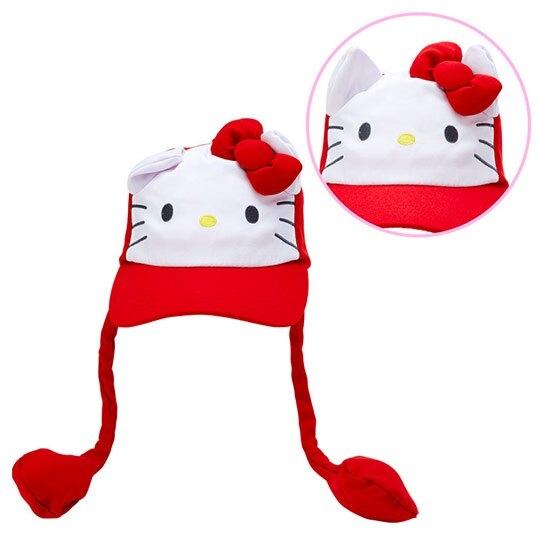 小禮堂 Hello Kitty 造型耳朵動動玩偶帽 兔耳帽 鴨舌帽 老帽 遮陽帽 (紅白 大臉) 4550337-40905
