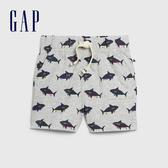 Gap 嬰兒 柔軟印花鬆緊休閒短褲 577009-灰藍色