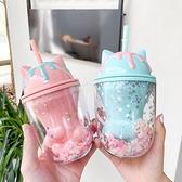 貓爪杯 韓式卡通貓爪雙層塑料杯可愛Ins亮片吸管水杯創意學生禮品大杯子 ww