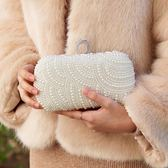 新娘手包女水鑽珍珠包新款晚宴包名媛手拿包手工縫制串珠禮服小包 時尚潮流