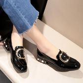 小皮鞋 夏季新款粗跟淺口單鞋女英倫風百搭低跟女鞋子 GB3452『優童屋』