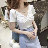 修身T恤 夏季女裝韓版V領修身上衣服褶皺白色短袖T恤百搭短款洋氣打底小衫 夢幻衣都
