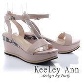 ★2018春夏★Keeley Ann韓式風潮~拼接壓紋金屬飾釦全真皮厚底涼鞋(粉紅色) -Ann系列