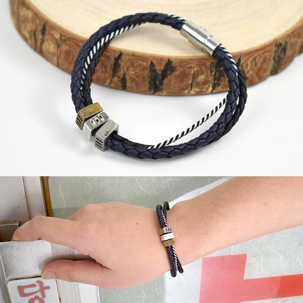 皮手環 簡約混色金屬真皮手鍊NAK43