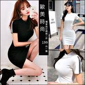 克妹Ke-Mei【AT46972】歐美單,愛死了!黑白單槓撞色袖修身T恤洋裝