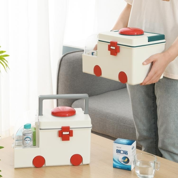 卡通兒童塑料急救醫藥箱家用多層家庭裝藥品收納盒救護車醫療箱子魔方數碼