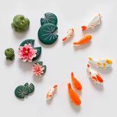 冰箱貼中國風荷糖景色青蛙荷葉冰箱貼鯉魚動物磁鐵磁貼創意3D立體 貝芙莉女鞋
