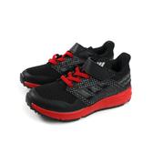 adidas FortaFaito EL K 運動鞋 跑鞋 魔鬼氈 黑色 紅鞋底 童鞋 EE7307 no729