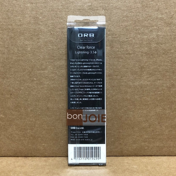 ::bonJOIE:: 日本進口 日本製 ORB Clear force Lightning 轉 3.5mm母座 轉接線 (全新盒裝) iphone ipad 耳機轉接線