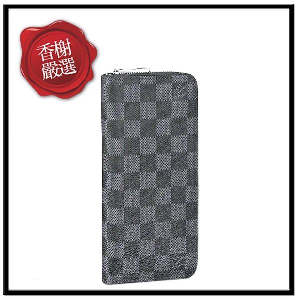 LV直式黑灰格紋拉鏈長夾N63095全新商品