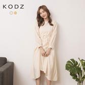 東京著衣【KODZ】氣質婉約抓皺腰綁帶不規則洋裝(191714)