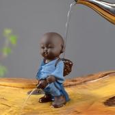 宇軒 紫砂茶寵噴水尿童擺件精品創意小和尚可養茶藝茶盤茶具配件