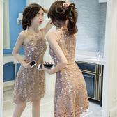推薦露肩連衣裙女夏裝新款性感時尚女裝漏肩蕾絲吊帶裙子a字短裙(滿1000元折150元)