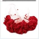 夸張立體花朵發箍黑點面紗頭箍頭飾紅黑米色晚宴酒會遮面頭花頭帶 完美情人
