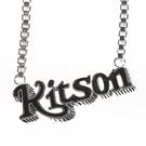KITSON經典LOGO雙色個性項鍊(銀黑色)140424