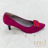 現貨 MIT小中大尺碼晚宴鞋推薦 Kiss女神 羊麂皮復古飾扣低跟鞋 21-26 EPRIS艾佩絲-緋紅