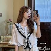 白色短袖雪紡襯衫女夏季2021新款設計感披肩襯衣慵懶風法式上衣服 范思蓮恩