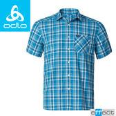 【ODLO 瑞士 男款 銀離子短袖襯衫《寶藍/墨黑格》】592522/格紋襯衫/防紫外線/吸濕排汗★滿額送