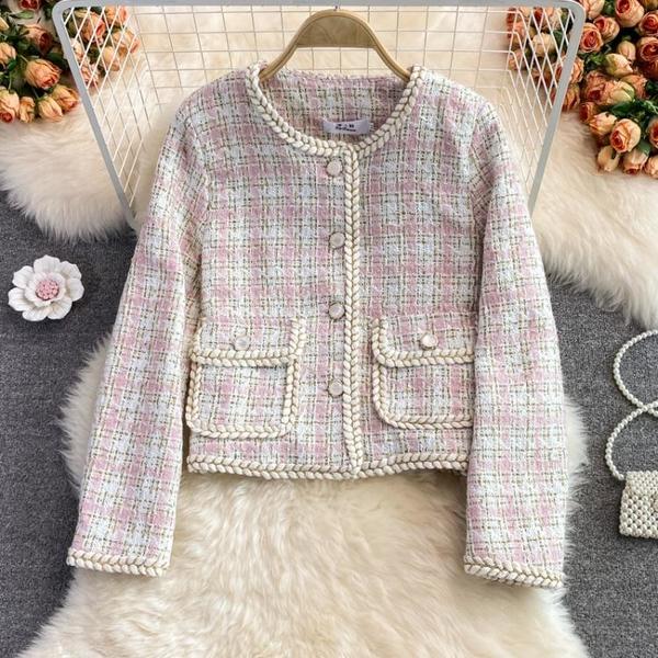 外套 长袖 百搭外套韓版法式復古名媛小香風粗花呢氣質上身短西服外套女NE68-A1 胖妞衣櫥