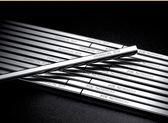 不銹鋼筷子家用防滑方形實木銀鐵筷子家庭套裝10雙【無趣工社】
