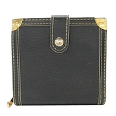 LOUIS VUITTON LV 路易威登 黑色牛皮黃銅邊飾二折短夾 Compact Zip M91828 BRAND OFF