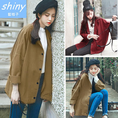 【V0443】shiny藍格子-秋風時尚.復古寬鬆翻領長袖薄款外套