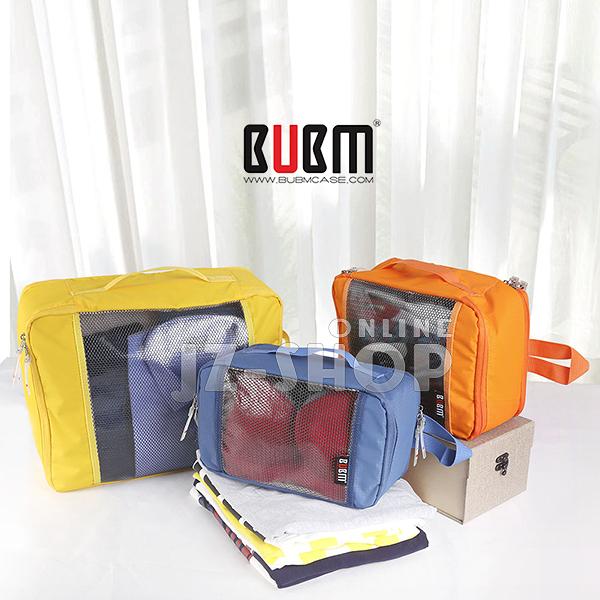 【滿490免運】BUBM旅行分類袋組 行李箱 衣物收納袋 防潑水-三件組 (藍/ 灰/ 桃紅) (T3JT)