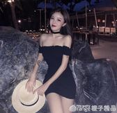 2019春季新款性感修身收腰包臀裙子顯瘦一字領露肩洋裝短裙女裝      橙子精品