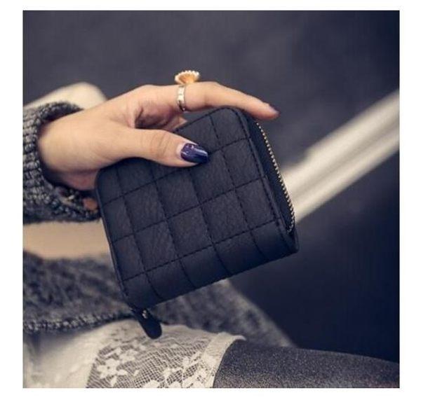 [24H 現貨] 韓國 迷你 拉鏈 皮夾錢包 短款 零錢包 兩折式 錢夾 卡包 短夾 格紋 壓紋