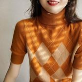 長袖針織衫~針織五分短袖女高領半袖短款毛衣修身內搭打底衫BF19A莎菲娜